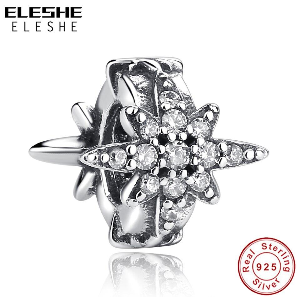 ELESHE Original 925 Sterling Silver Charm Clear CZ Crystal Asymmetric Star Bead Charm Fit Pandora Bracelet Necklace DIY Jewelry