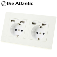 Atlectric DE EU RU Spain Plug Socket Dual USB Charging Port Power Wall Double Socket Glass Panel Outlet 146mm*86mm