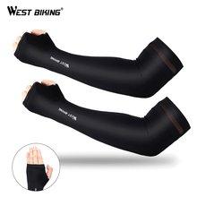 Batı buz kumaş koşu kol kollu UV koruma nefes spor bisiklet spor çalışan erkekler kadınlar kol ısıtıcıları kollu