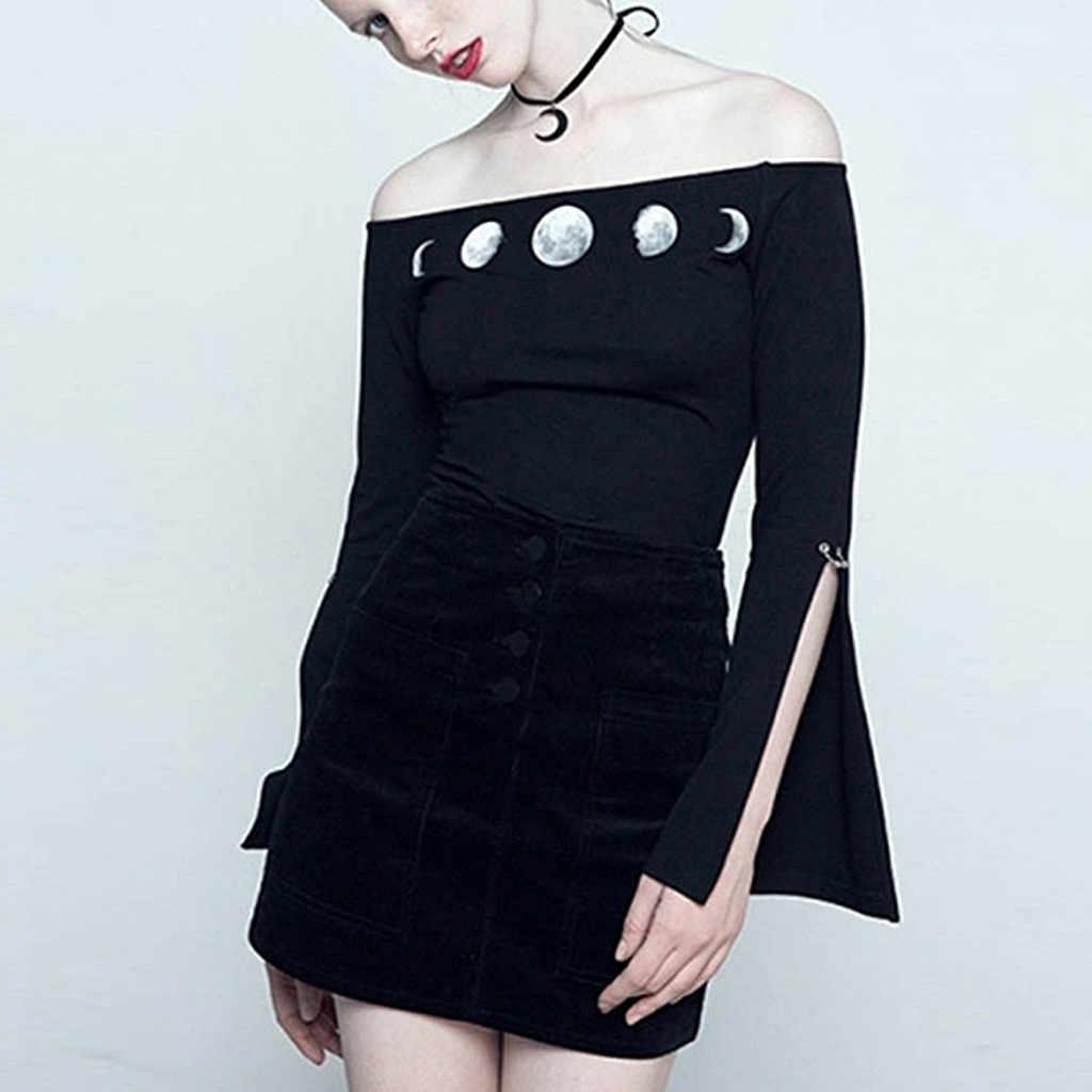 Style gothique Punk noir chemise de Yoga impression de lune combinaison serrée course Yoga femmes Gym Sports hors épaule Sportswear A7