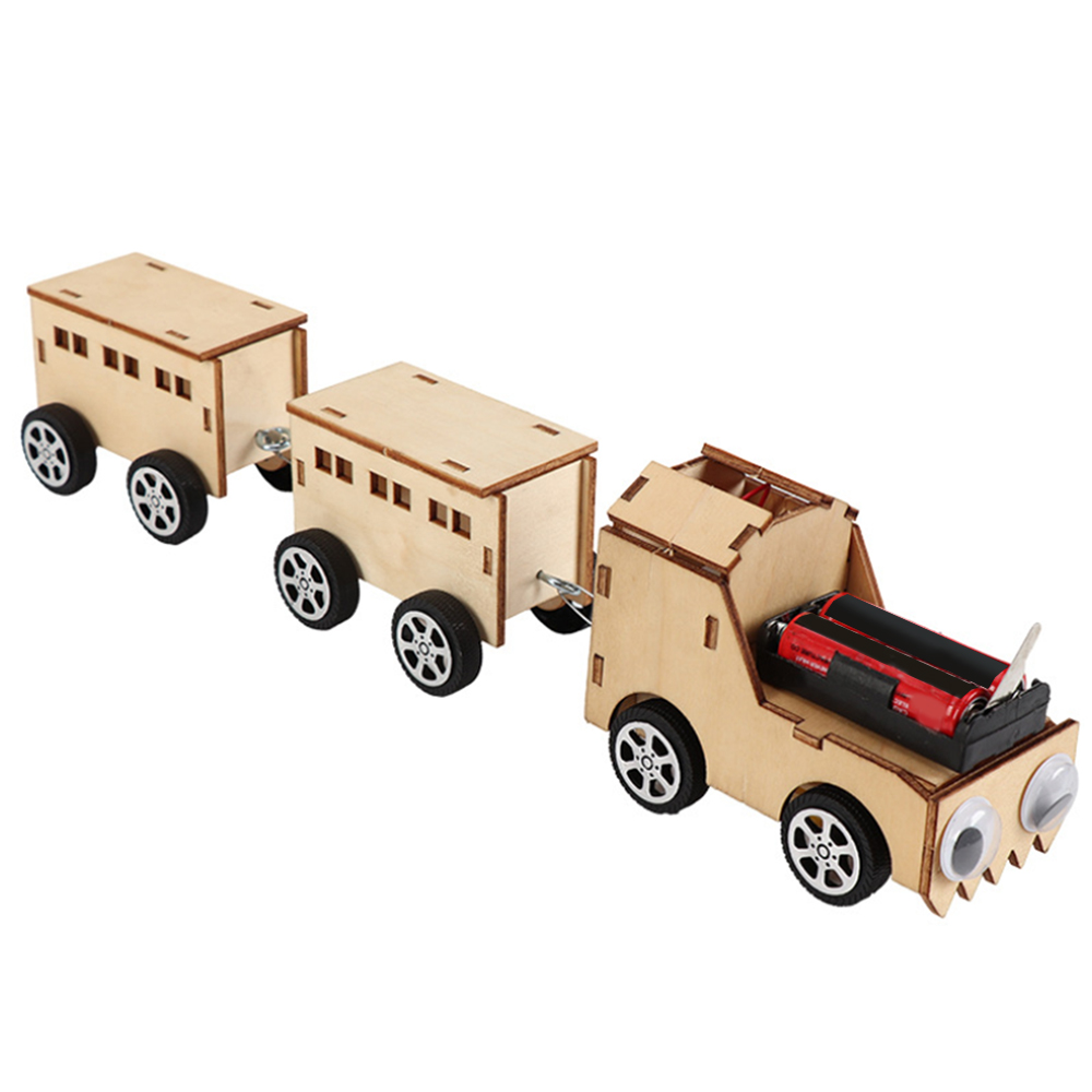 Wooden Electric Toy 3 Sections Train Handmade Toy DIY Puzzle Simple Physical Science Experiment Toy Vehicles For Kids Gift Toy