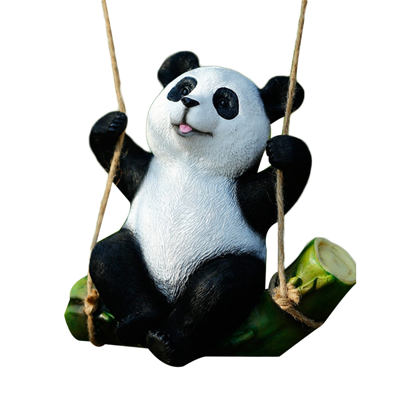 Simulation Resin Panda Hanging Ornament Landscape Sculpture Handicrafts Panda Swing Home Outdoor Courtyard Garden Decoration Tre