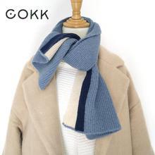 COKK Cashmere Scarf Women Winter Scarves Korean Style Men Luxury Pashmina Shawl Knitted Keep Warm Female Male