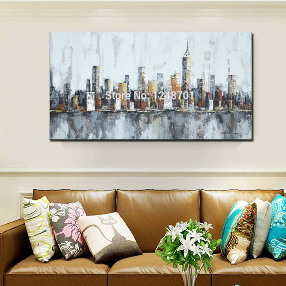 Купить с кэшбэком Hand Painted New York Skyline Cityscape Abstract Wall Art Canvas Oil Painting Wall  Living Room Picture Home Decor Drop Shipping