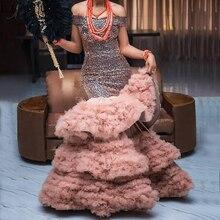 בציר ואגלי כבוי כתף שמלת ערב בטורקיה חום שכבות טול חצאית ארוך שמלות נשף בת ים צד פורמלי שמלה