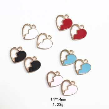Novelty earrings Korean earrings quirky jewelry drop oil split love alloy jewelry accessories earring pendant pendant image