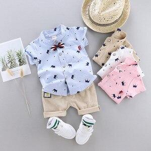Модный комплект одежды из 2 предметов для маленьких мальчиков, комплект одежды для маленьких мальчиков, милая рубашка джентльмена с бантико...
