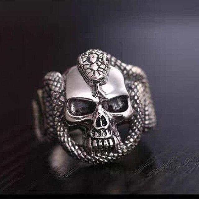 Bague homme serpent Style Vintage anneau homme crâne diable