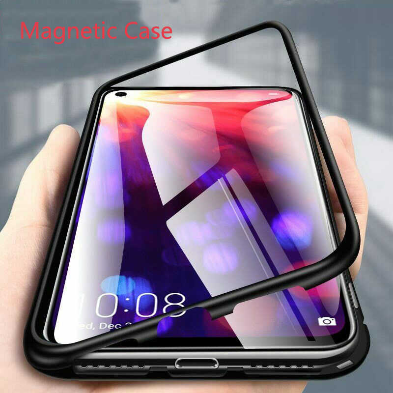 Magnetic Metal Case untuk Samsung Galaxy S20 S8 S9 S10 Plus A70 A50 A51 A71 A30 A10 Note 8 9 10 Pro Cover Coque