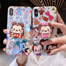 Fashion Cute Cartoon Mouse Funny Holder Stand Blue Light Phone Case for iPhone XR XS 11 Pro Max X 6 6S 7 8 Plus Back Cover Coque