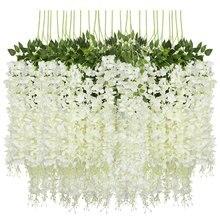 Venda quente 12 pacote (43.2 pés) artificial wisteria videira falso wisteria pendurado guirlanda de seda longo pendurado bush flores corda casa par
