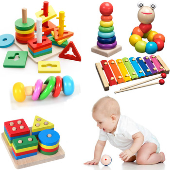 Kids Montessori Wooden Toys Rainbow Blocks Kid Learning Toy Baby Music Rattles Graphic Colorful Wooden Blocks Educational Toy 1