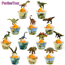 24pcs Birthday Dinosaur Cupcake Wrappers Toppers Cake Decorations Baby Shower 2nd 3rd 4th 5th 6th Birthday Dino Party Supplies