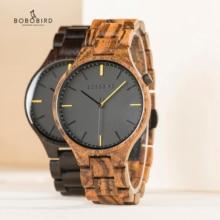 BOBO BIRD montre bracelet en bois pour hommes, marque de luxe, horloge en bois, boîte cadeau, grands cadeaux pour lui OEM