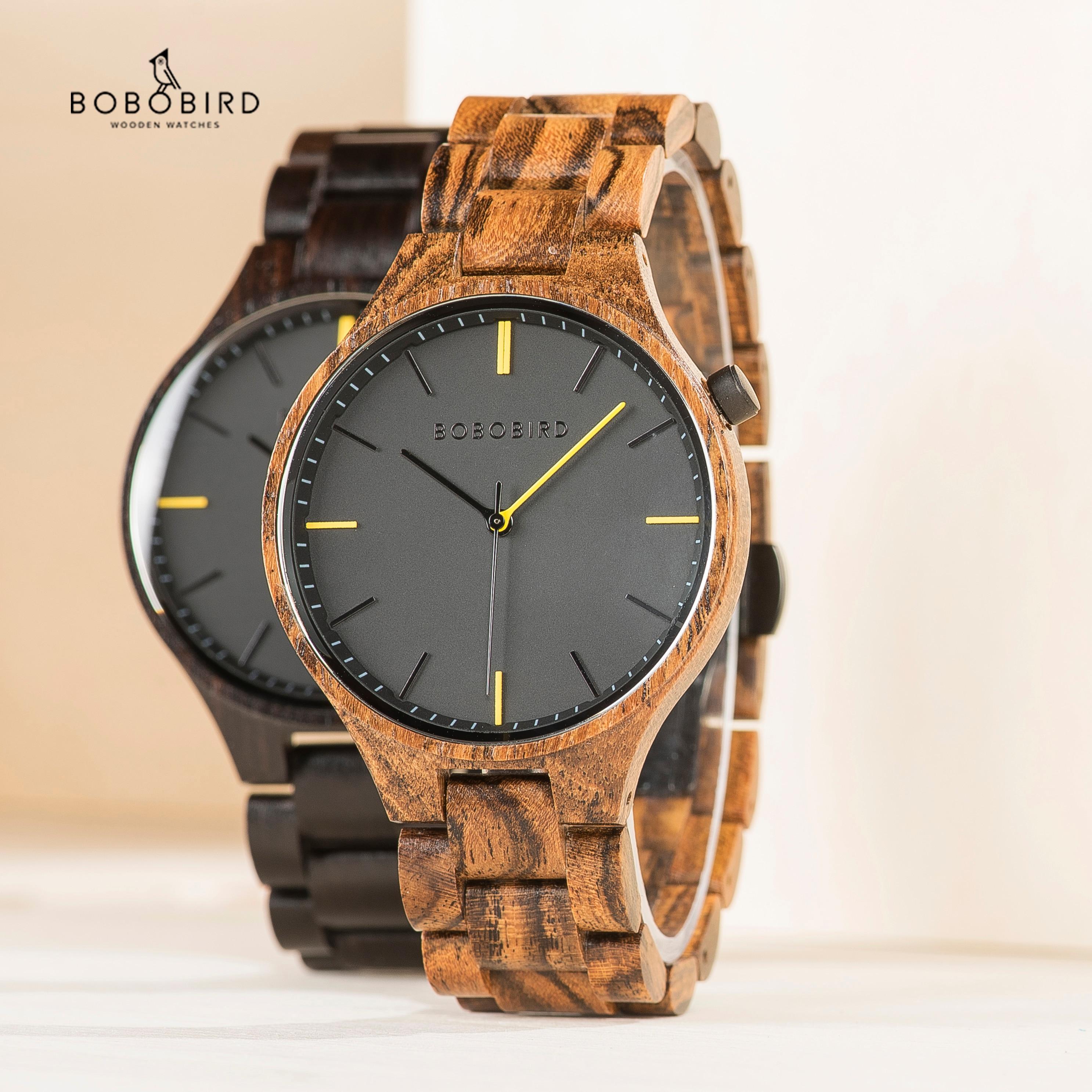 Мужские наручные часы BOBO BIRD Wood, роскошные брендовые наручные часы для мужчин, мужские часы в деревянной подарочной коробке, большие подарки ...