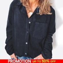 Corduroy Shirt Blouse Women Long Sleeve Turn Down Collar Loo