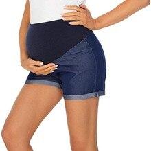 Maternity Denim Shorts Pregnant-Women Summer for Solid-Color High-Waist Elastic Soft