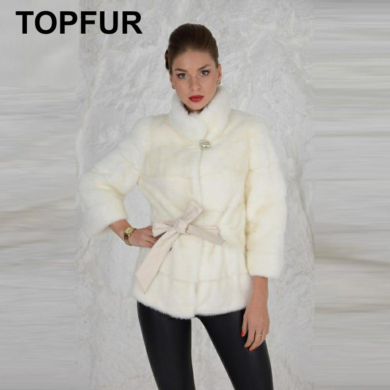 TOPFUR Real Fur Coat For Women Mink Coats Slim Jacket With Stand Collar Hot Sell Winter Thick Outwear