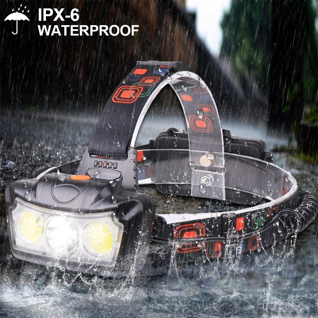 30000LM LED Headlamp T6+COB LED Headlight Head Lamp Flashlight Torch Lanterna Head Light Use 2*18650 Battery For Camping