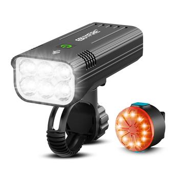 6000LM światło rowerowe potężne 6 * LED rowerowy reflektor 5200 mAh akumulator USB jako moc banku przednie i tylne światła zestaw przez EBUYFIRE tanie i dobre opinie Rohs CN (pochodzenie) KX6 Bike lights set Kierownica Baterii