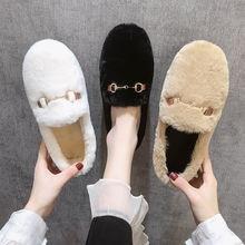 Женские однотонные ботинки на плоской подошве теплые и удобные