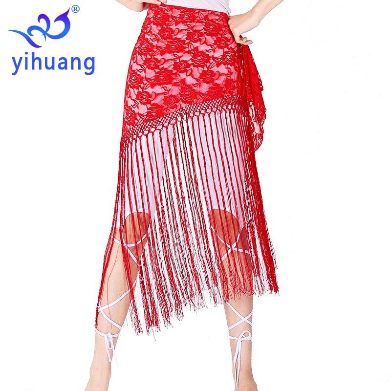 Free Shipping Halloween Wrap Skirt Belly Dance Tassel Hip Skirt Bellydance Hip Scarf Lace Fringe Wrap Belt Practice