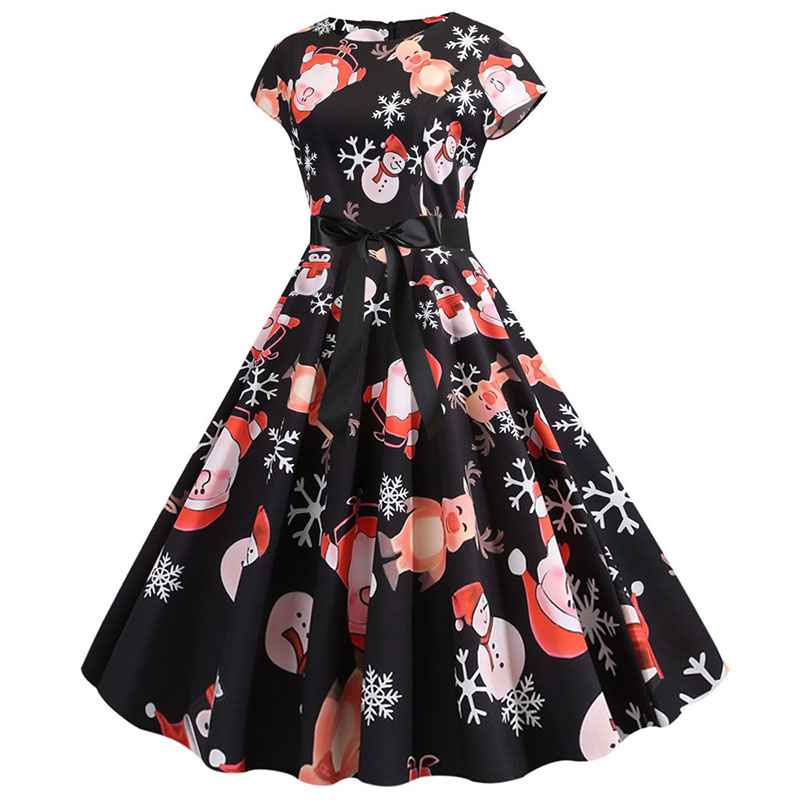 Women Christmas Party Dress robe femme Plus Size Elegant Vintage Short Sleeve Xmas Summer Dress Black Casual Midi Jurken Vestido 770