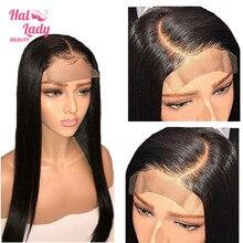 4x4 кружева закрытие парик из бразильских человеческих волос 24 дюйма прямая шнуровка, парики для Для женщин Non-remy Halo леди DHL