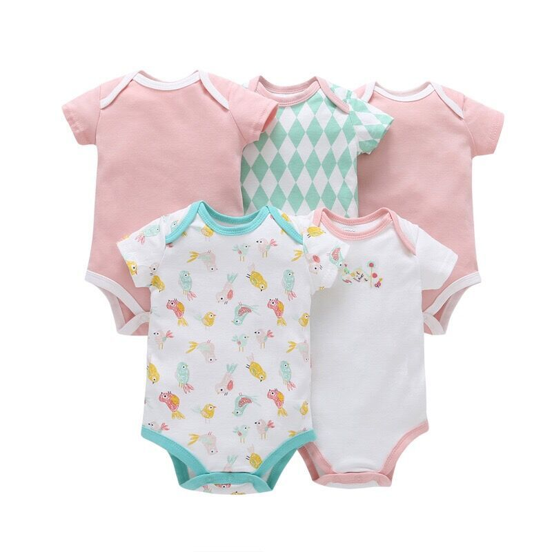 5-Pack Summer Pure Cotton 0-1-Year-Old Onesie Infant Summer Thin Section Half Sleeve Male Baby Short Sleeve Triangle Ha