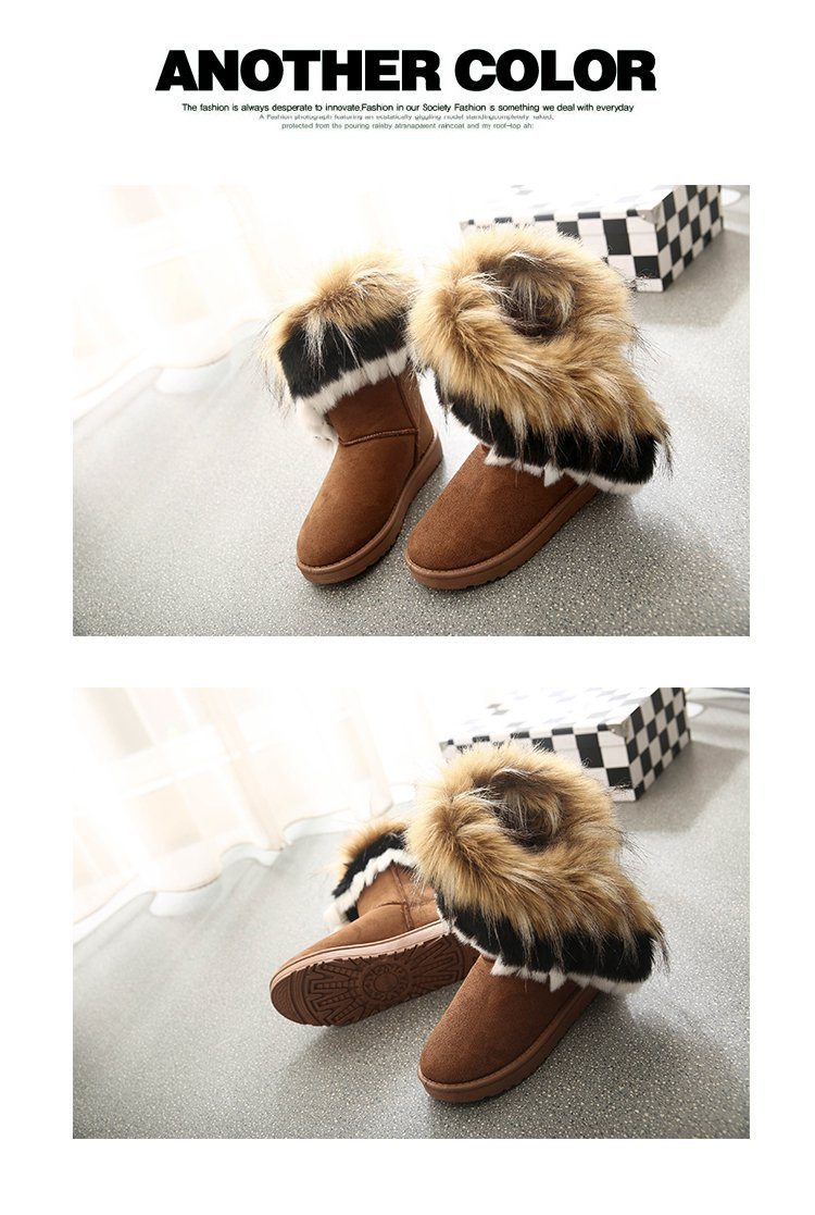 Women Fur Boots Ladies Winter Warm Ankle Boots For Women Snow Shoes Style Round-toe Slip On Female Flock Snow Boot Ladies Shoes 24