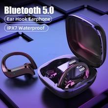 אלחוטי אוזניות TWS אלחוטי Bluetooth אוזניות עם מיקרופון 9D HiFi סטריאו ספורט עמיד למים אוזניות אוזן וו אוזניות