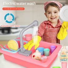 Kid Kitchen Toy Set Simulated Electric Dishwasher Pretend Table Play Plastic Cartoon Safe Cute House Toys for Children Girl Gift(China)