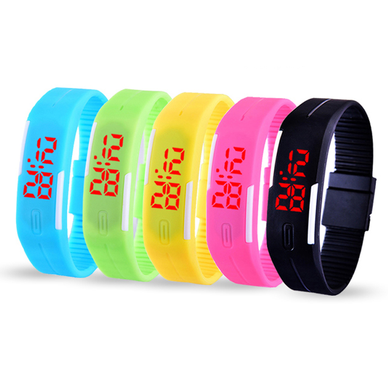 LED Digital Watch Calendar Wristwatch Candy Color Men Women Silicone Rubber Touch Screen Sports Couple Watches