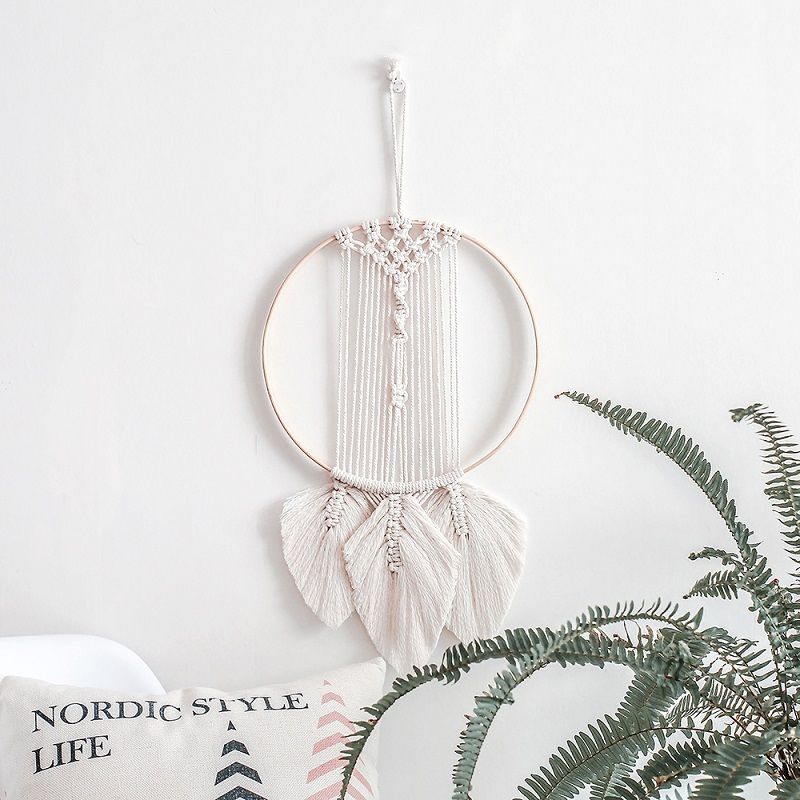 Northern Europe Macrame Star Leaf Tapestry Wedding Wall Decoration Boho Ins Hand-Woven Home Room Hanging Decor Photography Props
