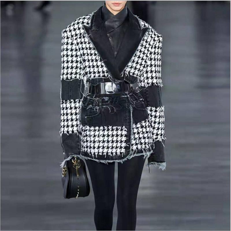 HIGH QUALITY New Fashion 2019 Designer Blazer Women's Denim Patchwork Fringed Houndstooth Tweed Blazer Jacket