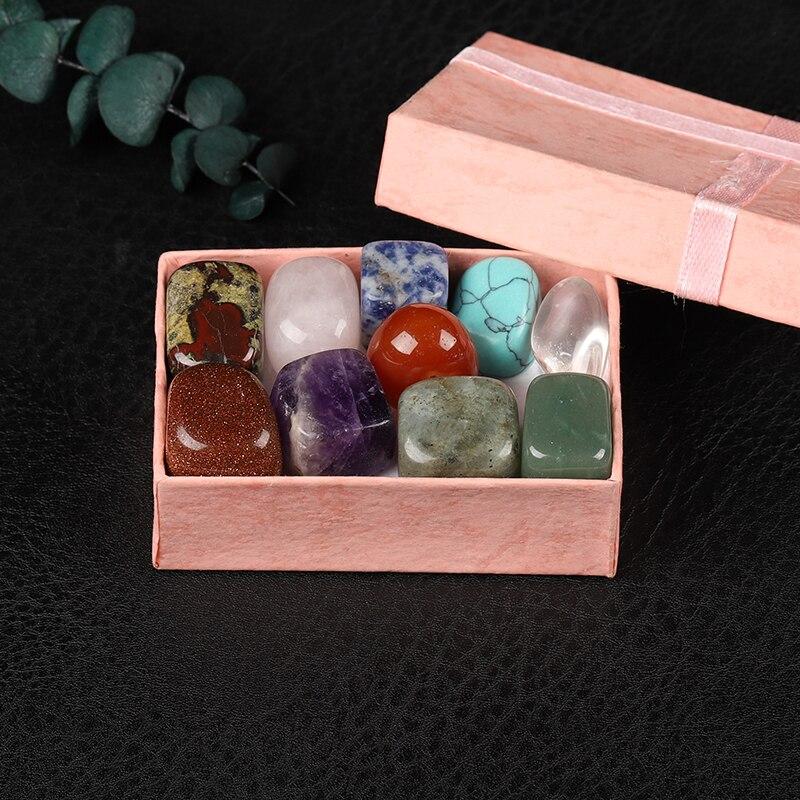 10 peças/caixa de cristal natural, gem chakra cura quartzo mineral, mobiliário doméstico, coleção de cristal caixa de presente das crianças