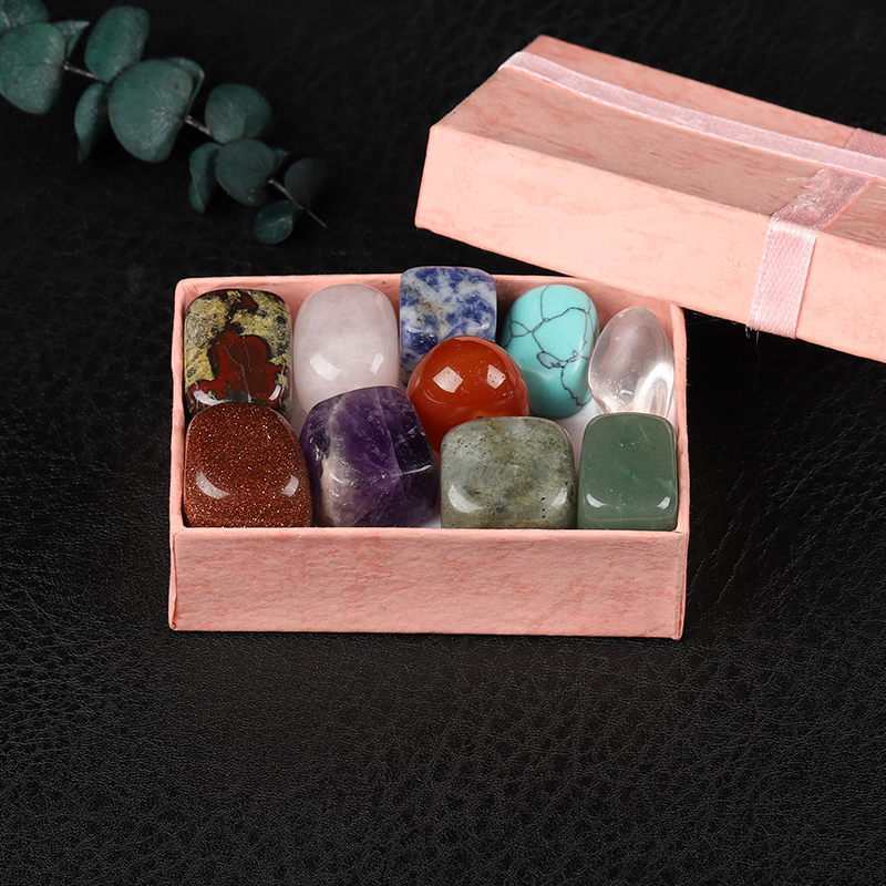10 pieces/box of natural crystal, gem Chakra healing Quartz mineral, Home Furnishings, Children's Gift Box Crystal Collection