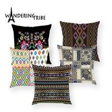 Vintage flor funda de almohada decorativo cojín barato almohada cubre caso con rayas Floral casa creativa sofá silla Cushioncover