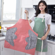 Multi-function waterproof clean aprons for woman men kitchen apron cooking with pocket+cleaning hand side