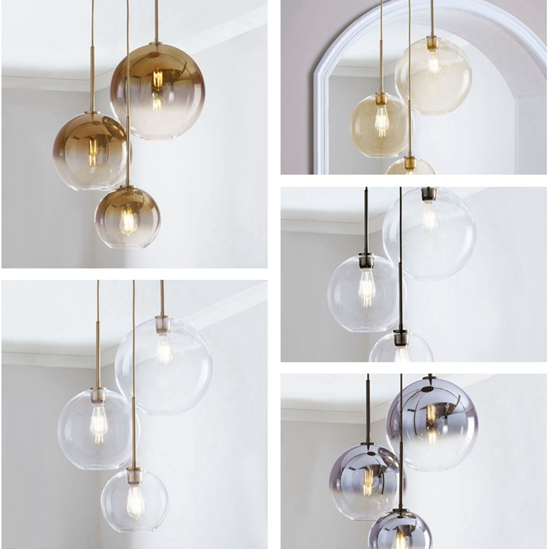 Ceiling Glass Ball Chandelier Pendants Lamp Bedside Hanging Lights Suspension Lighting Modern Kitchen Island Loft Glass Lamps