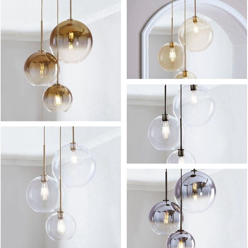 Plafond boule de verre lustre pendentifs lampe chevet suspendus lumières Suspension éclairage moderne cuisine île Loft lampes en verre