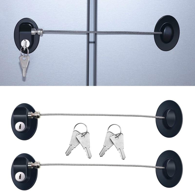 3 Pieces Refrigerator Door Lock Strong Adhesive Freezer Door Lock File Drawer Lock Child Safety Cupboard Lock With Key