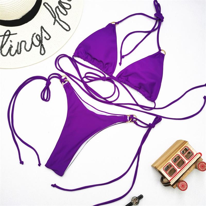 Одноцветный сексуальный комплект бикини, купальник для женщин, купальник с пуш-ап, бикини с лямкой через шею, Feminino, бикини на шнуровке, 2020, ку... 39