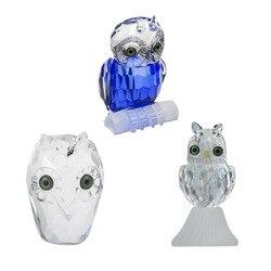 H & D 3 style śliczne Crystal sowa figurka Art Glass Animal Paperweight Ornament zabawa zabawka figurka prezent dekoracja dla dorosłych i dzieci|Figurki i miniatury|Dom i ogród -