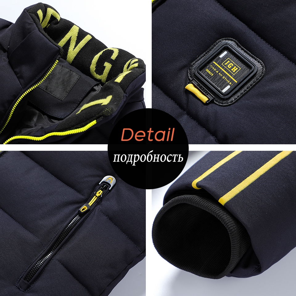 Luulla Men 2020 Winter New Casual Thick Warm Waterproof Hooded Jacket Parkas Coat Men Autumn Outwear Outfit Parkas Jackets Men 6