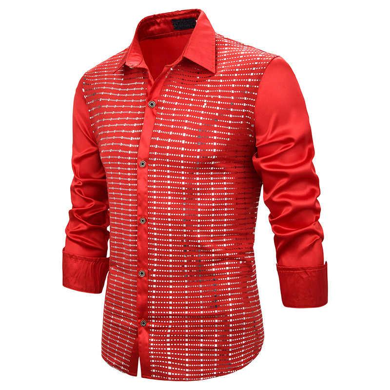 Mannen Shirt Mens Red Pailletten Nachtclub Shirts 2010 Gloednieuwe Slim Fit Lange Mouw Mannen Party Bruiloft Prom Camisa masculina