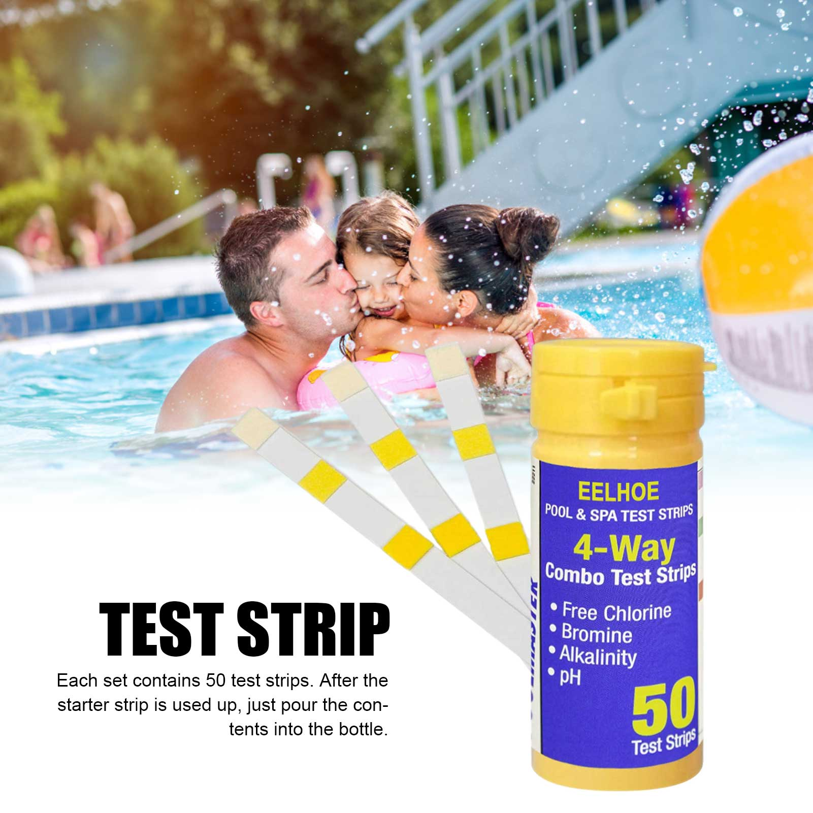 50pcs Swimming Pool 3 In1 Test Strip Chemical Accurate Pool Accessories Chlorine PH Test Strips SPA Swimming Pool Tester Paper