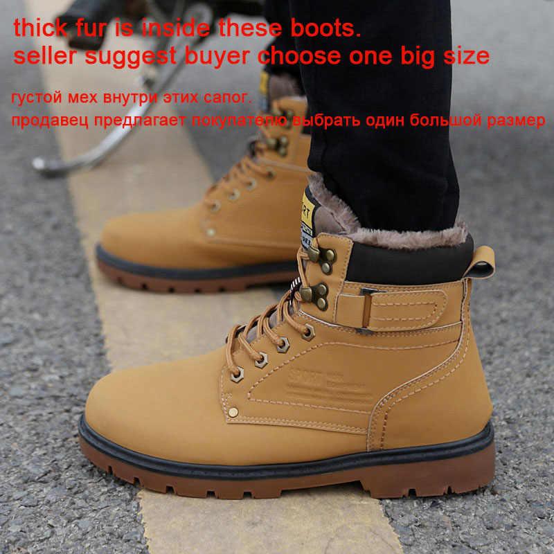 REETENE 2019 erkek kış kar botları kürk yarım çizmeler erkekler rahat ayakkabılar yüksek kaliteli peluş erkekler açık iş ayakkabısı artı boyutu 46