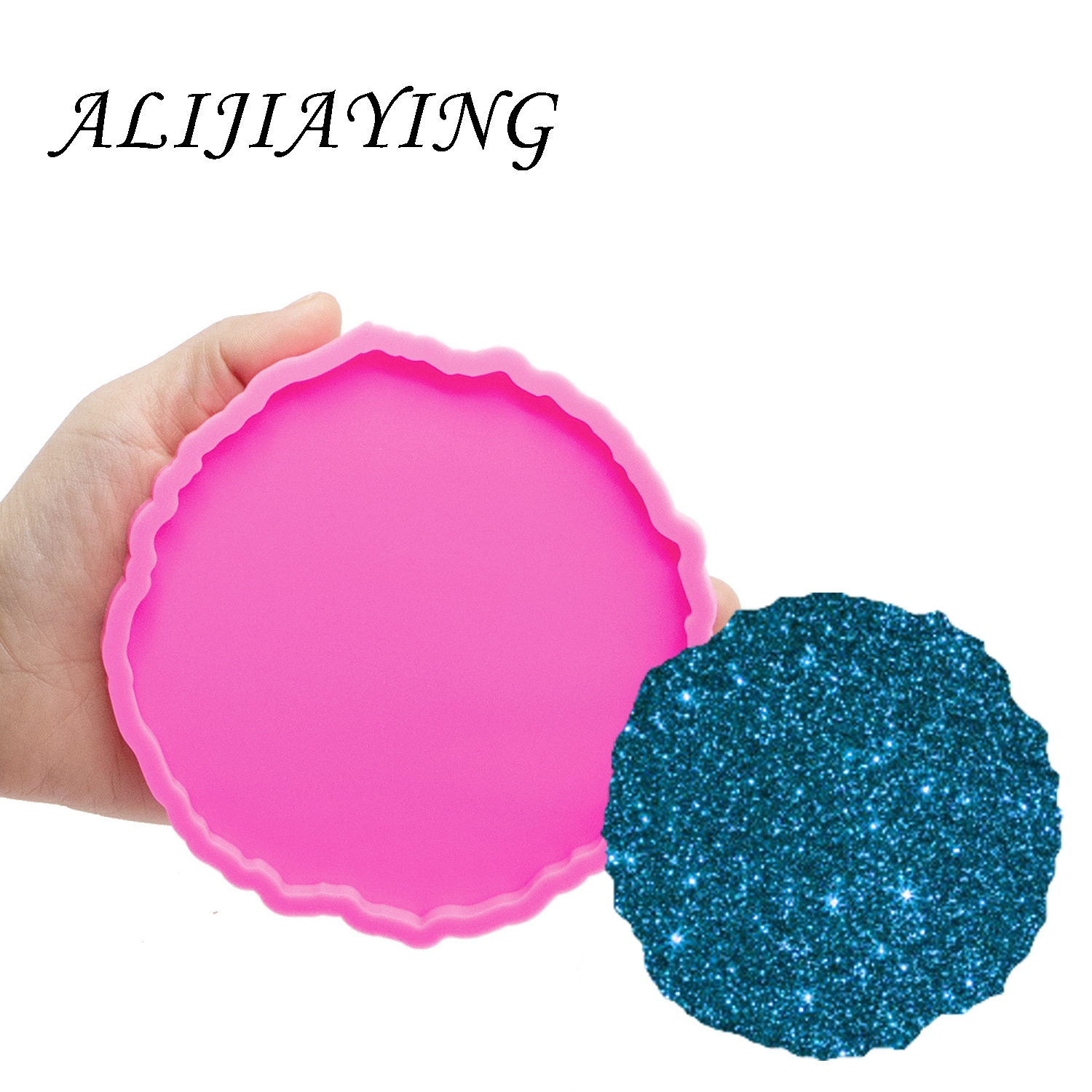 4.1/4.9 Inches Circle Molds Flower Mould For Epoxy Craft  DIY Round Silicone Geode Coaster Agate Resin Mold DY0279