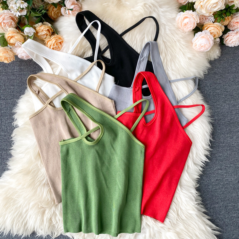 Helair Women Summer Crop Tops Female Knitted Cross Straps Tank Tops Halter Chic Design Sexy Solid Streetwear Tops For Women